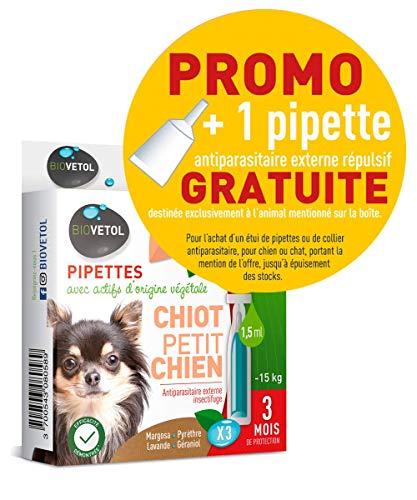biovetol–Pipeta antipulgas para cachorro y perro pequeño -15kg–X3