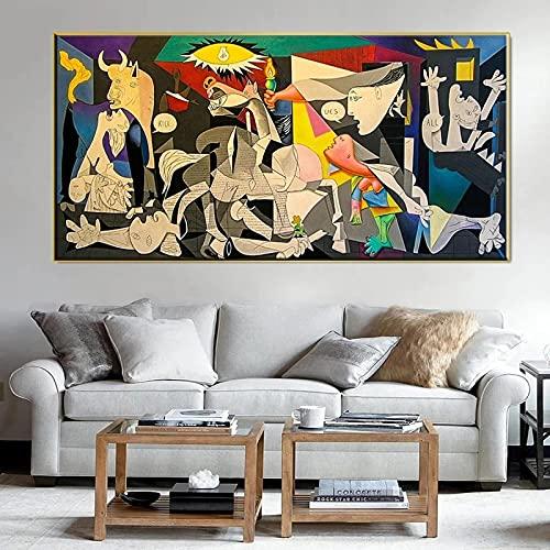 Guernica-picasso's Canvas Works Copy Famous Wall Art Canvas Poster Print Picture para la sala de estar moderna Decoración del hogar 25x50cm (10x20in) Marco interno ⭐