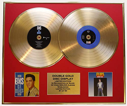 EC Elvis Presley/Zweifache Goldene Schallplatte Display/Limitierte Edition/COA/G.I. Blues & Moody Blue