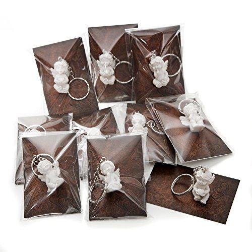 10 Stück kleine weiße Mini-Engel Schutzengel Engel-Anhänger Weihnachten Hochzeit Kinder-Geburtstag 3,5 cm Gips + Mini-Karte Lederoptik braun ZWEI HERZEN - Mitgebsel give-away
