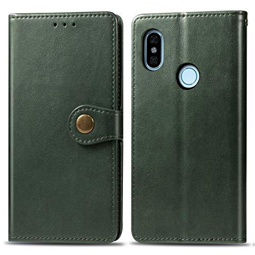 Funda telefónica para Xiaomi For Xiaomi Redmi Note 5 Pro Hebilla de cuero de color sólido retro Funda de cuero de protección for teléfono móvil con marco de fotos y ranura for tarjeta y billetera y fu