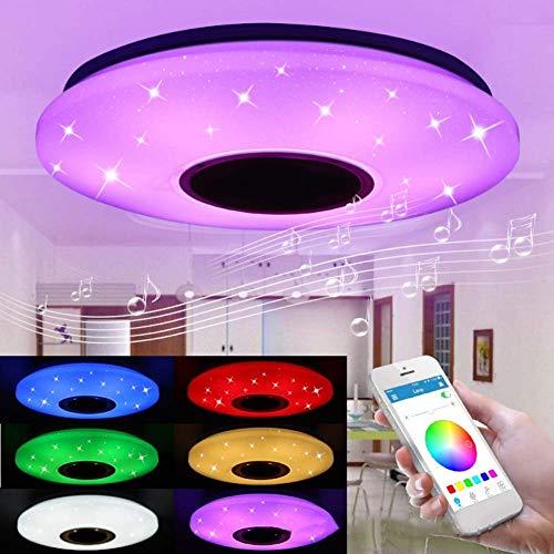 kzytamz LED Music Unterputz-Deckenleuchte, RGB-Farbwechsel-Deckenleuchte mit Bluetooth-Lautsprechern 36W Dimmbare Einbauleuchten, Timer/einstellbare Temperatur, 85-265V