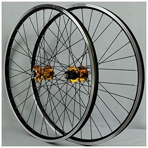MZPWJD MTB Fahrrad Laufradsatz Für 26 Zoll Laufrad Doppelschicht Leichtmetallfelge Abgedichtetes Lager Scheiben- / Felgenbremse QR 7-11 Geschwindigkeit 32H (Color : Gold Hub)