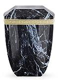 The Coffin Company - Urna funeraria Biodegradable para Cenizas de cremación, tamaño Adulto, Efecto mármol Italiano, Color Negro ébano