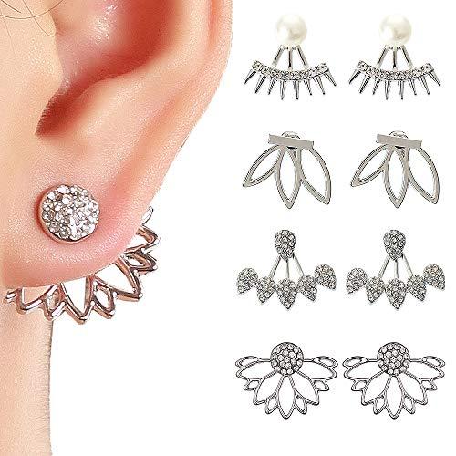 Juland 4 Paare Hohle Lotusblume Ohrringe Zurück Manschetten Jacke Ohrringe Crystal Simple Chic Ohrstecker Set für Frauen Mädchen - Silber