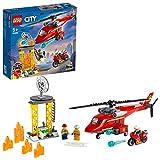 LEGO 60281 City Helicóptero de Rescate de Bomberos Juguete de Construcción con Moto y Figuras de Bombero y Piloto