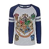 Merce con licenza ufficiale Harry Potter Perfetto per i piccoli fan di Harry Potter Fantastica stampa con Hogwarts e stemmi domestici con dettagli in inchiostro metallico T-shirt in stile raglan con maniche blu a contrasto e vestibilità regolare, tag...