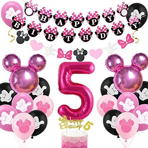Decoración de cumpleaños de Minnie para niñas, número 5, color rojo rosa y rojo