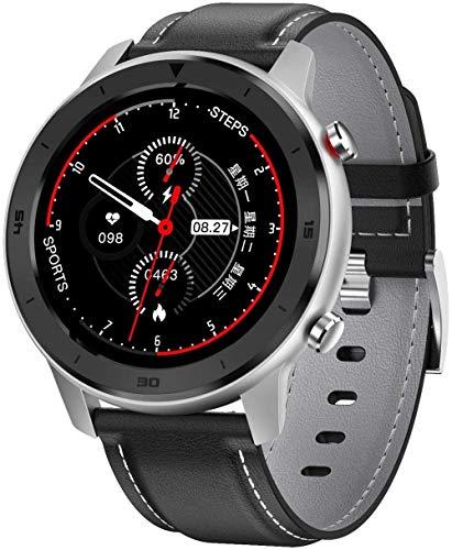 Smart Watch 1 3' Pantalla Táctil de Alta Definición Multifuncional Modo Deportivo Podómetro Impermeable Inteligente Bluetooth Pulsera para Android e Ios-Negro Cuero Gris