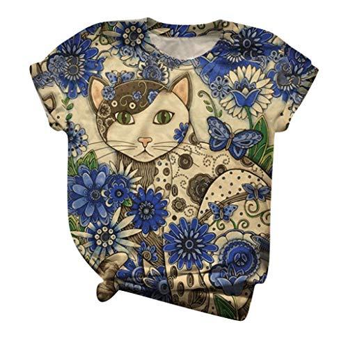 Sannysis Damen T-Shirt Tier Muster Shirt Vintage 3D Drucken Rundhals Kurzarm/Langarmshirt Oberteile Sommer Basic Oben Hemd Tops Bluse (M, K)