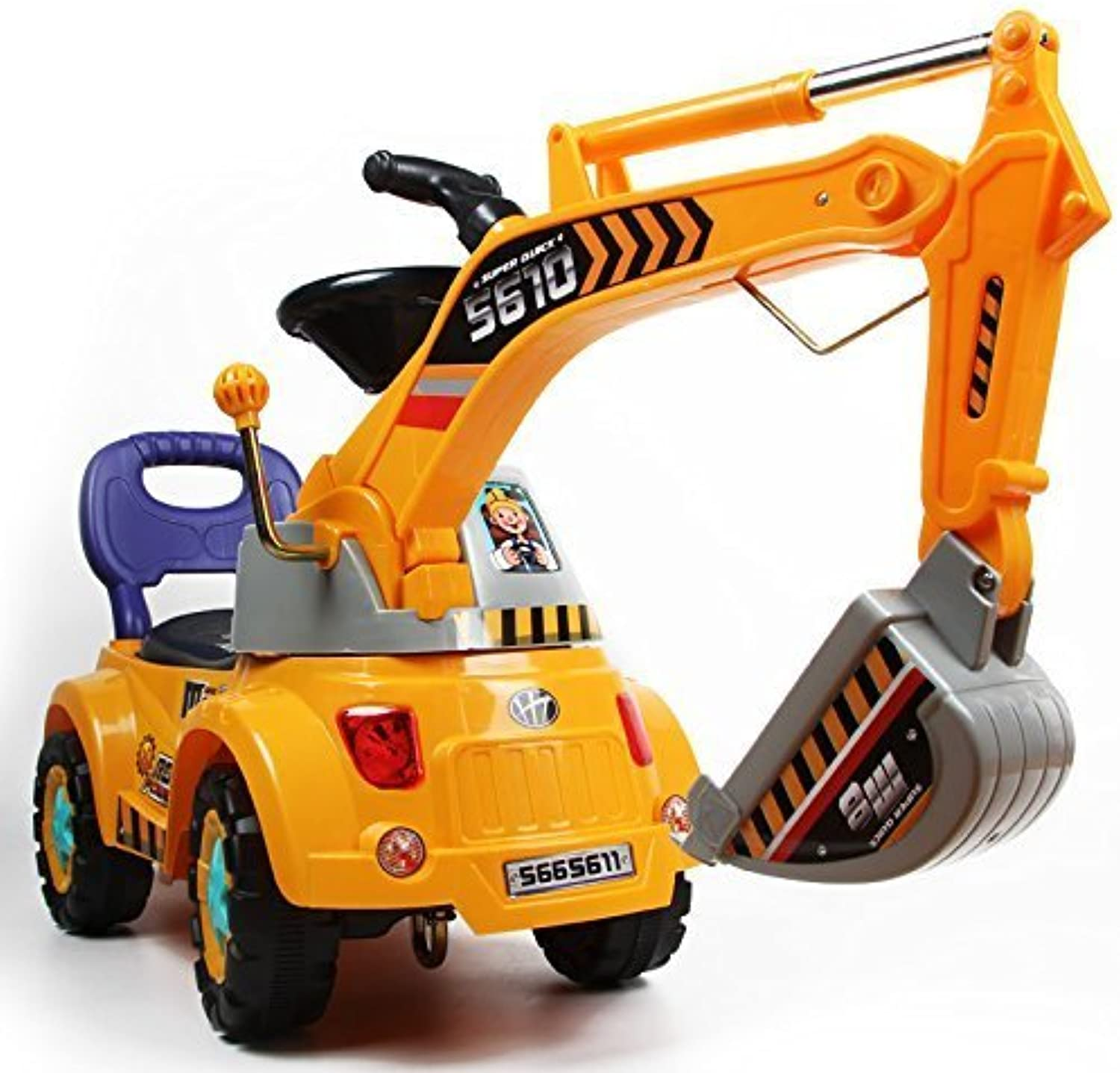 POCO DIVO Digger scooter, Rideon excavator, Pulling cart, Pretend play construction truck (color may vary)