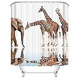 BROSHAN Safari Animal Shower Curtains, African Wildlife Giraffe Elephant Reflection in Water Funny Bath Curtain Art Print Fabric Waterproof Bathroom Accessories with Hooks,72x72