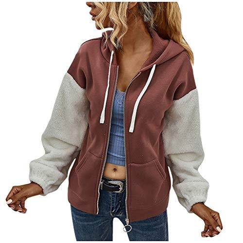LHHH Coat for Women, Leopard Print Patchwork Fleece Long Sleeves Cardigan Zipper Keep Warm Coat, Women Jackets Winter