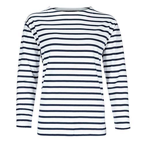 modAS Bretonisches Damen Fischerhemd Langarm Streifen Hemd weiß/blau gestreift 2500D_04 Größe 44 (Damen) / 52 (Herren)