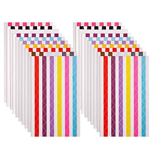 20 hojas de esquinas de fotos autoadhesivas para álbum de recortes, multicolor