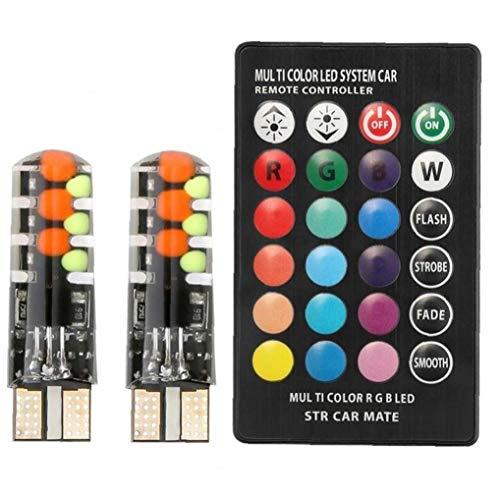 Lankater 1 Juego De Coche Universal Llevó W5w T10 12smd RGB COB Liquidación Luces De Modo Multi Colorido del Coche De Bombillas con Mando a Distancia