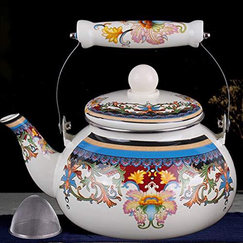 Tetera china esmaltada a mano Xinjiang, 1 pieza de 1,5/2,4 L, con diseño de tetera, hervidor vintage para hotel, hogar, cocina, camping A3-2,4 l.