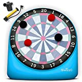 SWOOC Games - Giant Kick Darts (Over 6ft Tall) with Over 15 Games Included - Giant Inflatable Outdoor Dartboard with Soccer Balls, Air Pump & Score Card - Jumbo Foot Darts Game with Big Target (Blue)