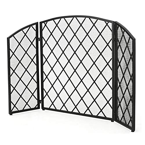 Fireplace Screen Black Iron Spark Guard, 3-Panel Fire Screen, Baby Safe Fire Guard Screen, for Wood and Coal Firing, 132×81cm/51.9×31.8inch