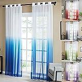Topfinel Tende Voile Trasparente Occhielli con Gradiente di Colore Decorativi Finestra Balcone casa 140x240cm 2 Pezzi-Blu