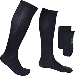 EvoNation Men's USA Made Graduated Compression Socks 20-30 mmHg Firm Pressure Medical Quality Knee High Orthopedic Support Stockings Hose - Best Comfort Fit, Circulation, Travel (Large, Navy Blue)