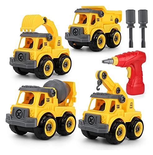 Kids Take Apart Toys with Electric Drill, Construction Vehicles Toy Trucks Including Digger, Dumper, Crane, Cement Mixer, Children DIY Toy Gift for 3 4 5 6 7 Years Old Boys Girls kids digger