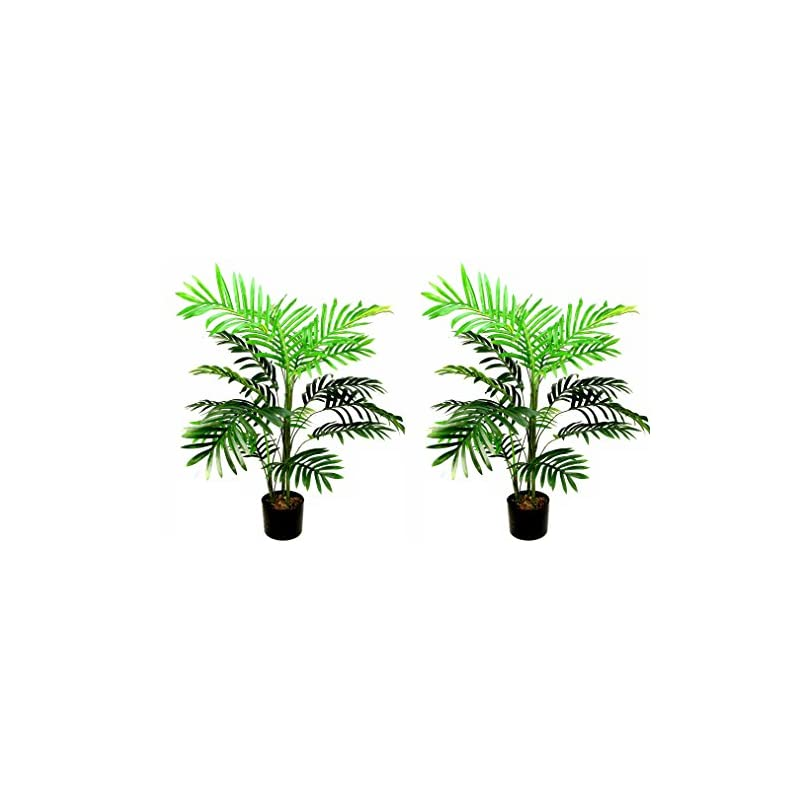 silk flower arrangements admired by nature plastic pot 3 feet artificial paradise palm tree plant, twin pack, 2 count