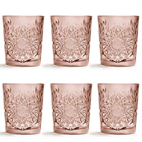 Libbey Trinkglas Hobstar Rosa - 355 ml / 35.5 cl - 6 Stück - Vintage-Design - spülmaschinenfest - hohe Qualität