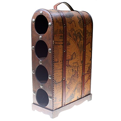 CHRISTIAN GAR Botellero de Madera Decorado con Capacidad para 4 Botellas (43,5 x 27 x 12,7 cm) F-155