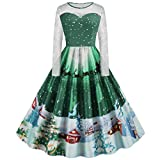 Auifor Vestido de Navidad de Vestir de Manga Larga de impresión de Navidad de la Mujer Vestido de Las señoras de la Vendimia(B-Verde/Small)