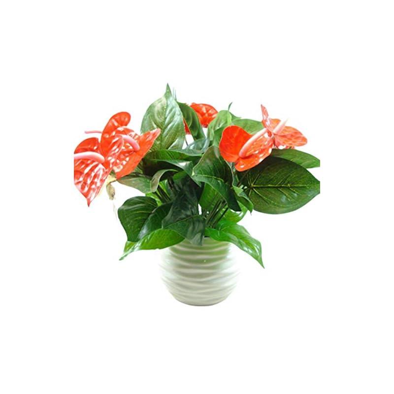 silk flower arrangements zzjiaczs 3 heads 9 leaves artificial anthurium flower, 1pc faux plant home office garden decor