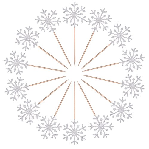 Frienda 30 Pack Snowflake Cupcake Toppers Snowflake Decorations for Kids Birthday Party Christmas Themed Party Baby Shower Wedding Cake Decoration (Silver)