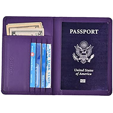 RFID Blocking Leather Passport Holder Cover & Travel Wallet ID Card Case (Purple)