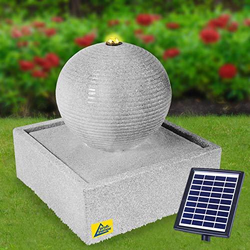 profi-pumpe.de Solar Gartenbrunnen Brunnen MODERN lichtgrau mit LED-Licht, Solarbrunnen Zierbrunnen Wasserfall Gartenleuchte Teichpumpe für Terrasse, Balkon, mit Pumpen, mit Liion-Akku