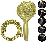 dirks-traumbad Duschkopf mit Schlauch 150 cm Shower Head in Gold Handbrause Wassersparend 5 Funktionen