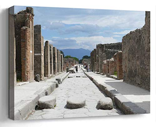 Wall Art Canvas Print Photo Artwork Home Decor (24x16 inches)- Pompeii Italy Naples Antiquity Places of Int