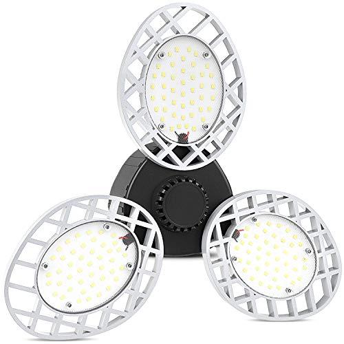 Led Garage Light, E26/E27 60W Garage Lighting, 6000k Daylight Deformable Led Garage Ceiling Lights, 6000 Lm Bright Triple Glow Light, Adjustable LED Shop Lights for Basement, Workshop, Warehouse