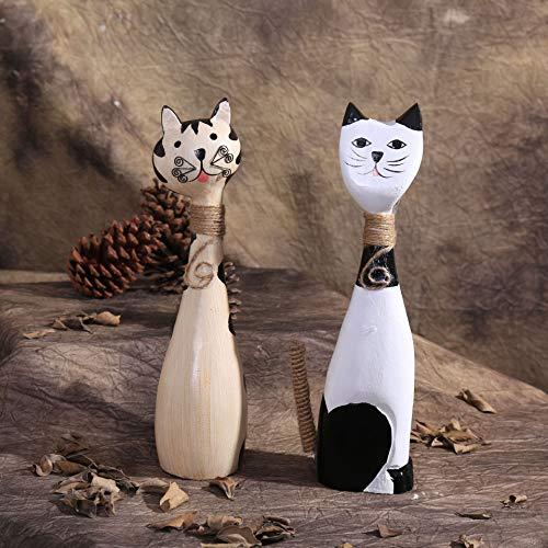 LUSU Modern Figuren Klein Weihnachten Figurinen Engel Jesus Nordischer Gemalter Hölzerner Kitten Creative Couple Cat Sido-Money-Trim-Inneneinrichtung