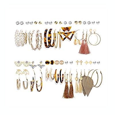 36 Pairs Fashion Tassel Earrings Set for Women Girls Bohemian Acrylic Hoop Stud Drop Dangle Earring Leather Leaf Earrings for Birthday/Party/Christmas/Friendship Gifts