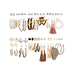 A Great Variety: These 36 pairs of earrings with different styles and colors are all super cute to match almost any outfit you have and be great for dressing up or wearing daily. Fashion Design: These fashion earring set combines tassels, leather lea...