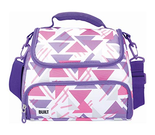 BUILT Insulated Lunch Bag with The Active Design, Polyester, Purple/White,...
