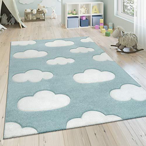 Paco Home Kinderteppich, Moderner Kinderzimmer Pastell Teppich, Wolken Design, Grösse:120x170 cm, Farbe:Blau