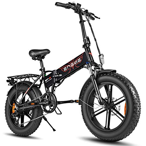 ENGWE 500W 20 inch Fat Tire Electric Bicycle Mountain Beach Snow Bike for Adults, Aluminum Electric Scooter 7 Speed Gear E-Bike with Removable 48V12.5A Lithium Battery (Black)