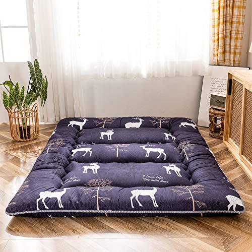 Cartoon Deer Printed Japanese Floor Mattress Futon Mattress, Children Floor Lounger Pillow Bed Thick Tatami Mat Dormitory Mattress Pad Kids Sleeping Pad, Thickness:10CM, Full Size
