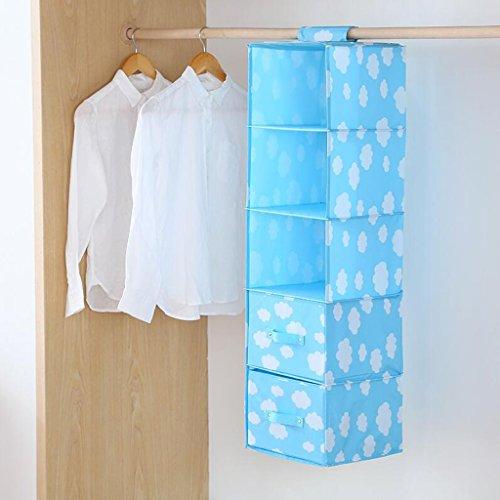 Sac de rangement Blue White Clouds Pattern Drawer Garde-Robe Hanging Clothing sous-vêtements Five Layers (27 * 28 * 102cm) Rollsnownow (Couleur : Two Drawers)