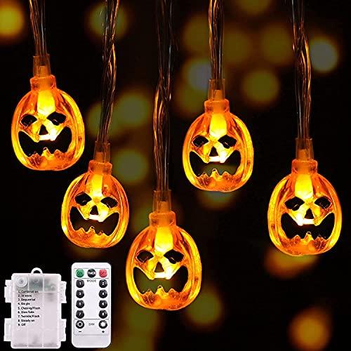 Guirnaldas Luces Halloween, Luces Decoración Halloween, Guirnalda Luminosas de Calabazas, 30 LEDs de Calabazas Naranjas, con IR Control Remoto, 8 Modo Cadena de Luces para Halloween Navidad Fiesta