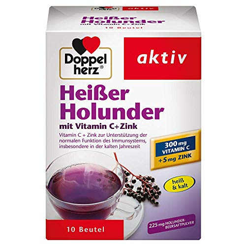 Doppelherz Heißer Holunder – Vitamin C und Zink zur Unterstützung der normalen Funktion des Immunsystems – 3 x 10 Beutel