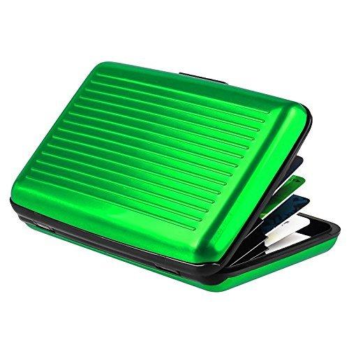 ilett. Cartera de aluminio, color verde, resistente y pantalla de tarjeta de Crédito con RFID Bloque, titular de la tarjeta con 6bolsillos. Ultra compacto, portátil, y para Viaje