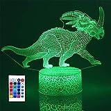 Lampe de nuit en forme de dinosaure pour enfants - Cadeau d'anniversaire pour garçons et filles ou lumières décoratives pour chambre d'enfant (tricératops )