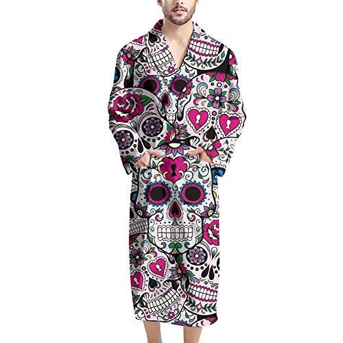 UOIMAG Herren-Bademäntel mit Tasche, gemütlicher Nachtwäsche, Bademantel Geschenk für Männer Gr. Einheitsgröße, candy skull